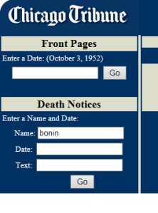 Chicago Trib Archive search box