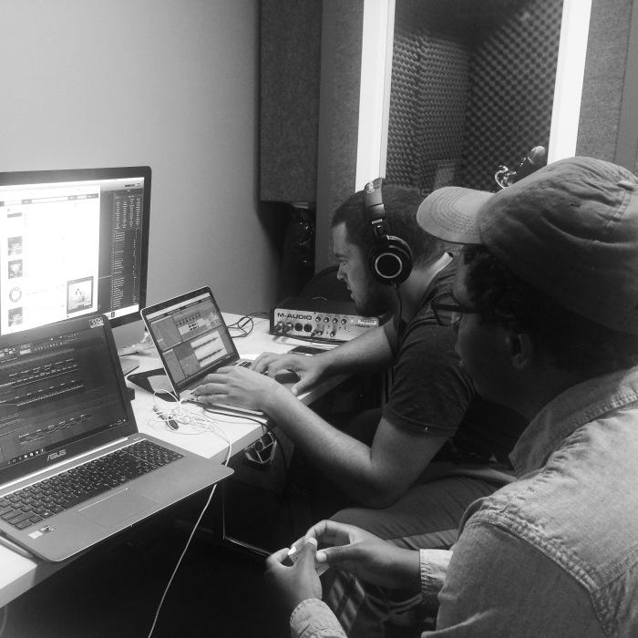 Mark and Ayobami in studio